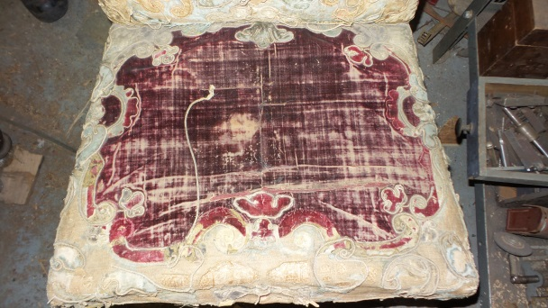 17th-century chair seat tapestry before restoration