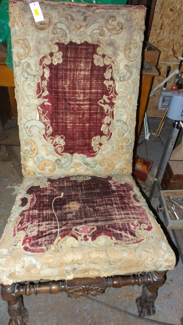 17th-century chair before restoration