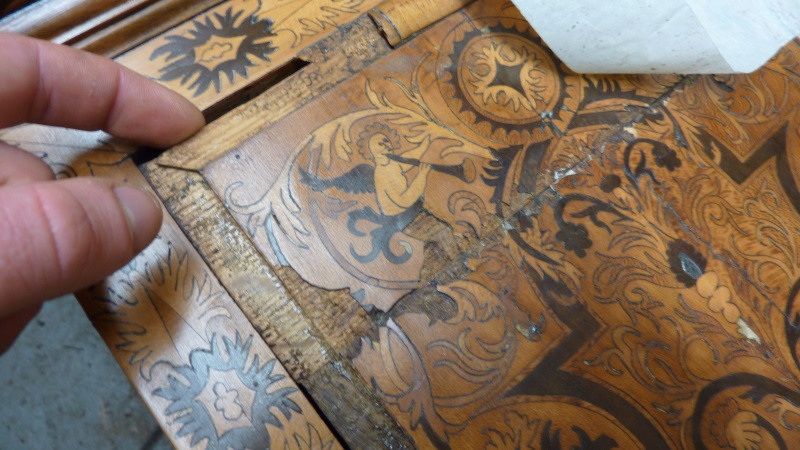 Dutch marquetry longcase door