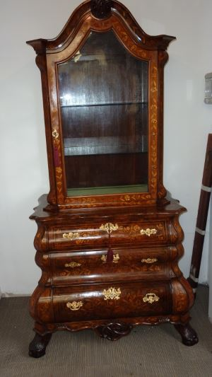 Dutch marquetry Bombe commode bookcase restored