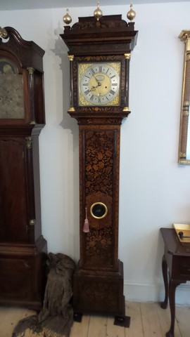Dutch marquetry long case clock