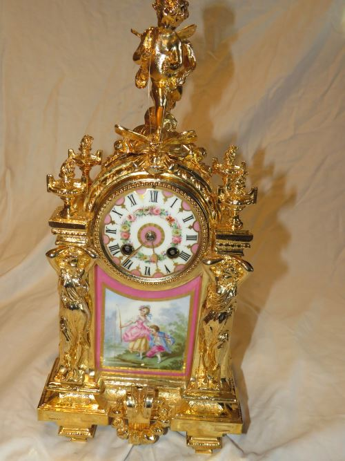 French clock after restoration work and gilding has been undertaken