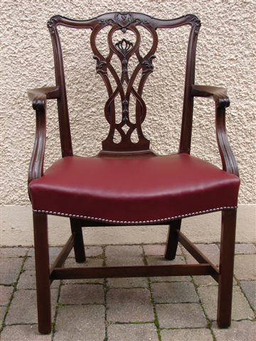 Chippendale period chair after upholstery