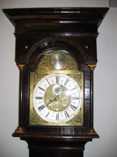 18th century walnut long case clock_hood