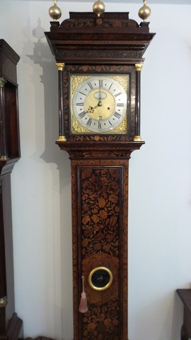 Marquetry clock restored
