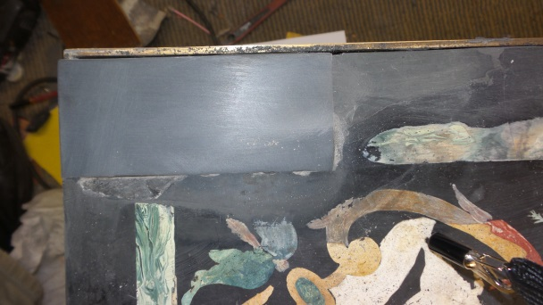15 centuries Slate table before repairs