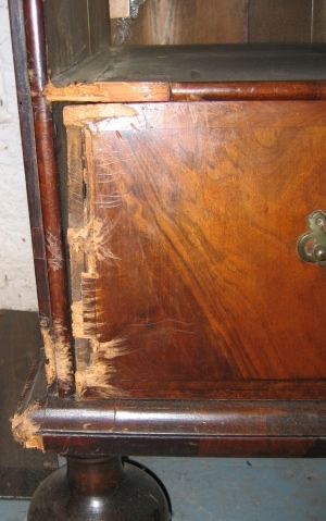 William and Mary walnut chest damaged