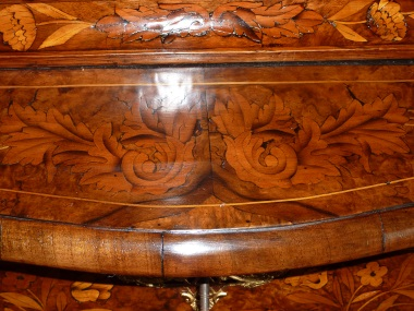 Close-up of Dutch marquetry Bombay commode