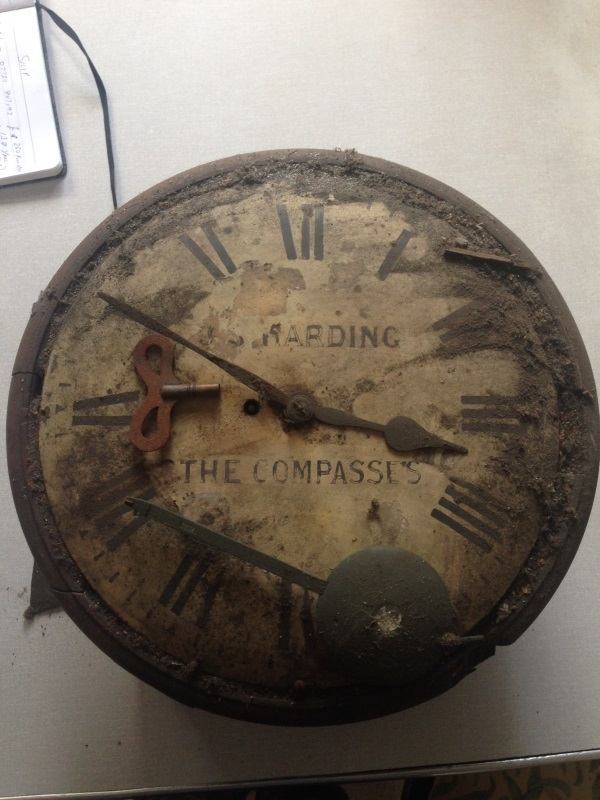 The dirty and dusty dial clock from seller prior to restoration