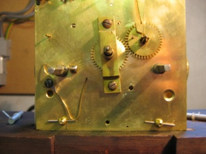 long case clock movement circa 1780 with a missing date wheel and wheel post