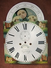 Longcase Clock face after Restoration