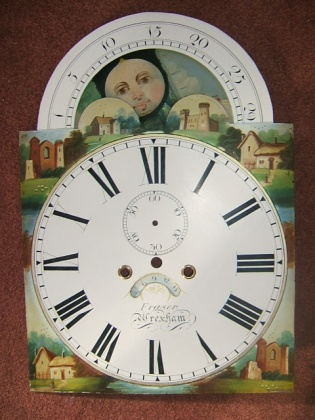 Longcase clock dial after restoration