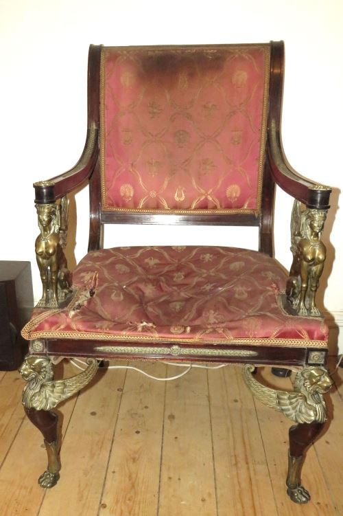 A fine Georgian mahogany chair in the Egyptian revival style