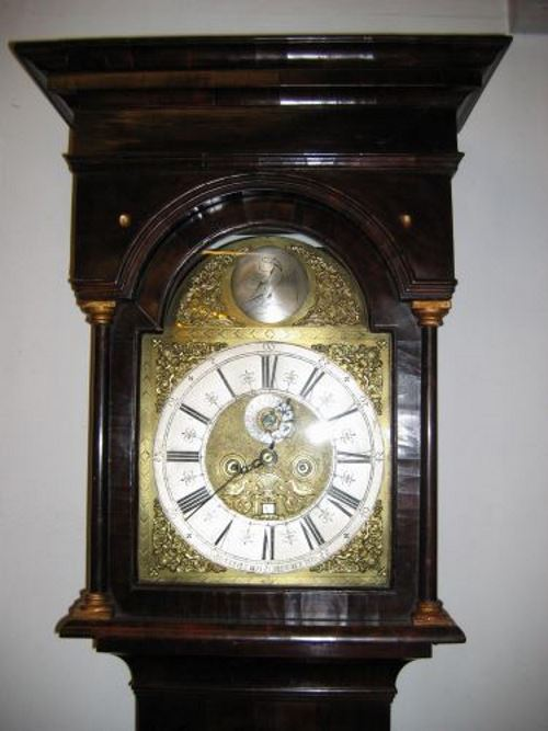 Walnut period long case clock hood